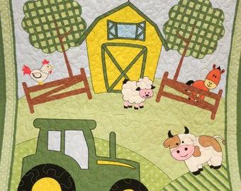 John Deere quilt, John Deere blanket, handmade, boy quilt, gender neutral quilt, wall hanging, bedding, play mat, farm quilt, tractor quilt