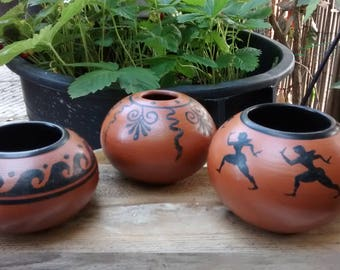 RAKU pottery in Etruscan-style unique SET of three pieces