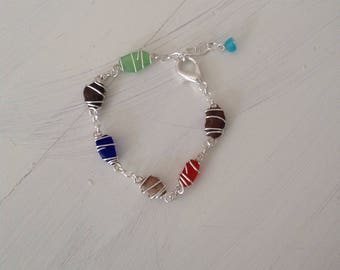 Sterling silver sea glass and beach pebble bracelet