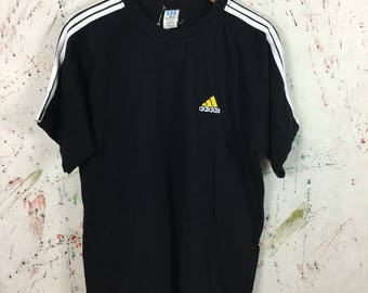 Vintage 90s Adidas T Shirt Trefoil Size M Hip Hop Sport