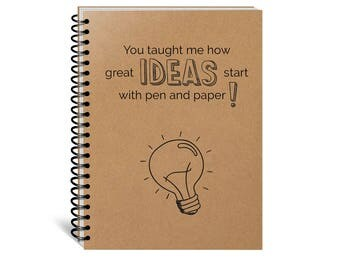 Great Ideas Start with Pen and Paper, Teacher Gift, Artist, Coworker, Entrepreneur, Confident, Custom, Notebook, Motivation Journal