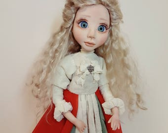 OOAK art doll, collectible art doll, interior doll, art doll, polymer clay doll