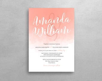 Watercolor Blush Wedding Invitation & RSVP - Simple Suite - Deposit Listing