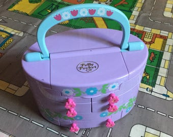 1991 Bluebird Polly Pocket Purple Vanity Make Up Case WITH 1 FIGURE