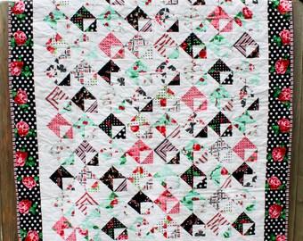 Love Notes Quilt, Quilted Throw, Retro Quilt, Lap Quilt, Sofa Quilt