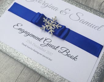 Snowflake Personalised Guest Book, Winter Wedding, Glitter wedding guest book, Wedding Keepsake Book, Christmas Wedding, glitter, crystal