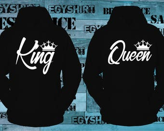 King and Queen hoodies black, couples, best price fast shipping
