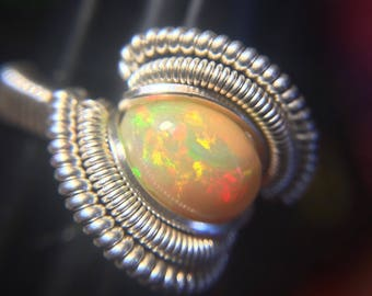 Sterling Silver Wire Wrapped Ethiopian Opal Ring, Heady Wire Wrap, Wire Wrapped Opal, Opal Wire Wrap, Heady Wire Wrapped Ring, Heady Ring