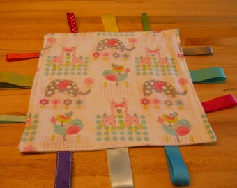 Baby Girl Tag Blanket, New, Handmade, Free Shipping in US