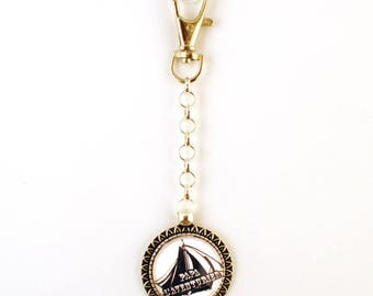 Key ring - cabochon - dad is an adventurer