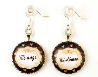 Earrings - cabochon - mi Angel / Devil 2 mi