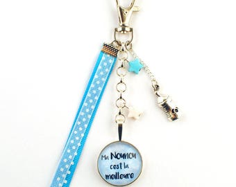 Bag charm - cabochon - my Nanny is the best (blue)