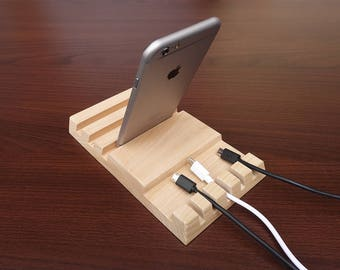 Wood Multiple Charging Station and Cable Organizer for iPad, iPhone. Station is for 3 Devices + 5 Cables . Wooden Multiple Charging Station.