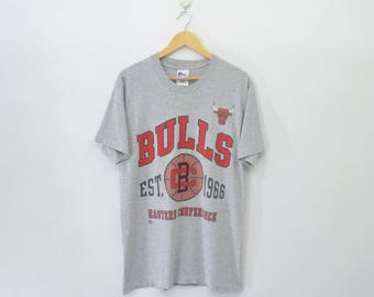 CHICAGO BULLS Shirt Vintage Chicago Bulls Eastern Conference Made In USA Tee T Shirt Size M