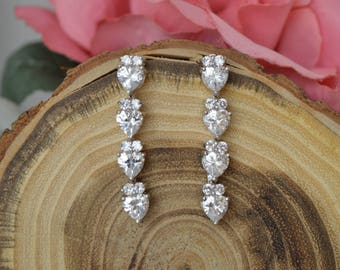 Cubic zirconia earrings,Wedding  Earrings, Bridal jewelry,zirconia jewelry.