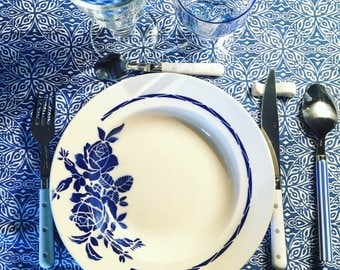 6 mismatched soup plates Digoin Sarreguemines and Badonviller. 1930's / 1940's. Blue and white. Old dishes.