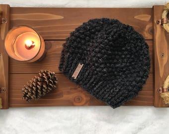 Women's Gray Seed Stitch Beanie, Knit Women's Beanie, Gray Hat, Gray Knit Hat