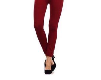 New Fleece Lined Leggings - S/M (4-8) - L/XL (12-16) Burgundy/Wine/Maroon