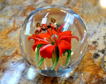 Pretty Flower Paperweight-Art Glass
