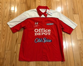 Tony Stewart Office Depot racing Button up shirt NASCAR New with tags Old spice sponser Size XL unisex Red and white