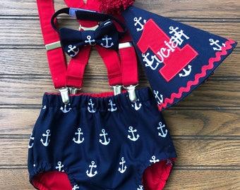 Nautical cake smash birthday outfit