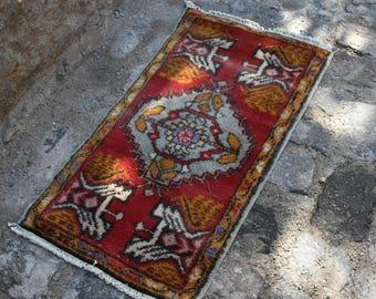 Free Shipping Turkish Rug Vintage Turkish Rug Bohemian Rug Organic Wool Rug Floor Rug 1.4x3.7 Ft Decorative Rug Vintage Anatolian Carpet