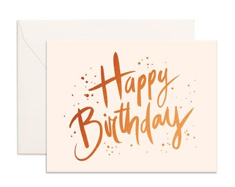 Copper foil birthday greeting card