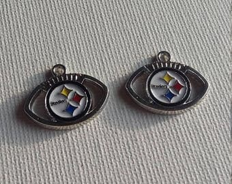 Set of 2 football charms inspired by the steelers