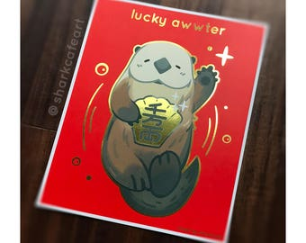 Lucky Awwter Gold Foil 8x10'' Print | Cute Otter, Ocean Art, Lunar New Year, Lucky Cat, Maneki Neko