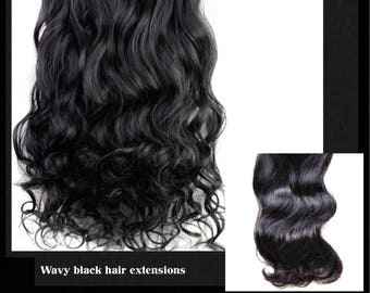 Clip in Hair Extensions Wavy 3/4 full head_like human hair_22 inches long hair black soft touch, synthetic fiber_7pcs 16clips