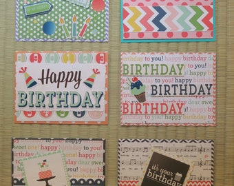 pack of 6 assorted handmade birthday cards, greeting cards, happy birthday cards
