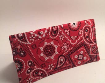 Red Bandana, Checkbook cover, for duplicate checks, fabric checkbook, gift, L Miller Creations