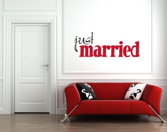 Just Married Multi-Colored Home and Family Vinyl Wall Quote