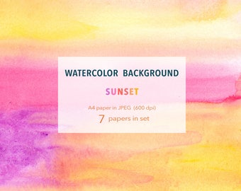 Watercolor Background - Sunset- 7 A4 paper packs printable, free commercial use , Abstract Watercolour digital texture instant download