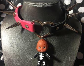Skeleton Kewpie Pink and Black Spiked Choker