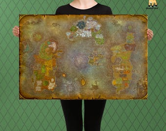 WOW Inspired, World of Warcraft, Map of Azeroth and Broken Isles, Custom Raised Canvas Art Piece