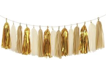 Ivory Gold Tassel Garland Kit Rustic Chic Wedding Decor,18pcs,Bridal Baby Shower Decorations,Ivory Gold Tissue Garland Tissue Fringe Banner