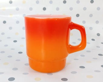 Anchor Hocking Fireking Flameglo Mug, D-Handle, Stacking, Orange/Red Ombre