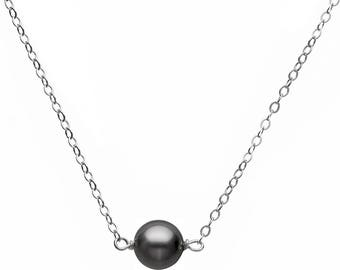 """Swarovski Elements 8mm Pearls 925 Sterling Silver Dainty Chain Necklace, 17""""+1"""" extension, Handcrafted in USA Beaded Necklace Pearl Necklace"""
