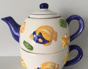Vintage hand made ceramic teapot and cup 1990's, 90's, coastal