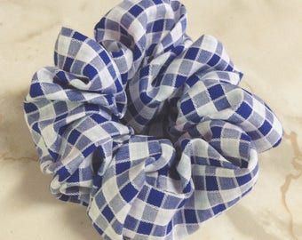 Blue plaid hair scrunche,Scrunchy,Hair accessory,Plaid hair tie,Novelty fabric used,Luxury