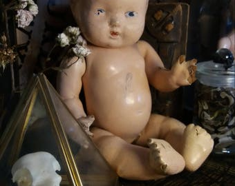 Antique vintage composition doll with painted features - spirit vessel horror doll