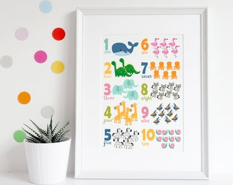 Animal numbers A3 poster, Animal print, Numbers print, Childrens art, Nursery print, Nursery art, Nursery decor, Preschool gift, Baby gift