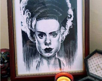 Horror art print frankensteins bride realistic pencil drawing 8x10 inches black and white