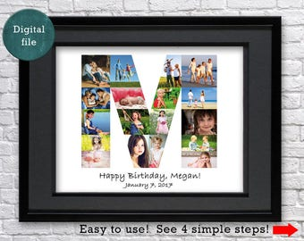 Monogram photo collage Custom gift for aunt gift for uncle gift for cousin gift for nephew Any Letter gift Personalized gift