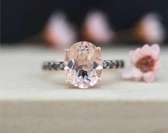 14K Rose Gold 8*10mm Morganite Ring Black Diamond Wedding Ring Oval Cut Morganite Engagement Ring Anniversary Ring Handmade Promise Ring