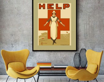 WWI Red Cross Graphic Modern Vintage Propaganda Poster, Nursing Student Gift, Medical Office Decor Print