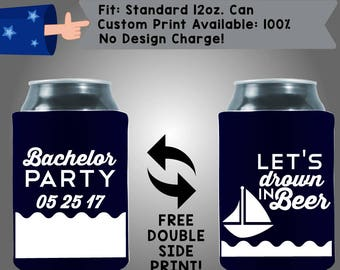 Let's Drown In Beer Name's Bachelor Party Collapsible Neoprene Bachelor Party Can Cooler Double Side Print (Bach92)