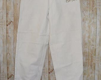 Size 12 vintage 80s high waist tapered gold stud 'LA' mom jeans white (HP66)