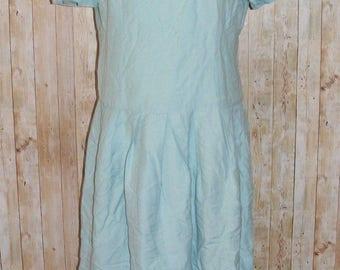 Size 16 vintage 80s does 50s drop waist s/slv pleated dress duck egg blue (HK15)